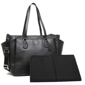 NEW COACH BLACK CROSSGRAIN LEATHER DIAPER BABY BAG